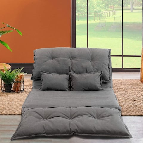 Lazy Sofa Bed Floor Futons Sets 2 Pillows Adjustable Sofa Gaming Couch Folding Sleeping Laying Entertainment Deep Grey