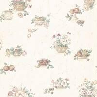 Brewster 347-86258 Coover Pink Fruit & Floral Toss Wallpaper - N/A
