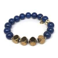 Blue Jade 'Enchanted' Stretch Bracelet 14K Over Sterling Silver