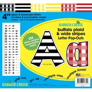 Barker Creek Letter Pop-Outs Set, 4 Inches, Buffalo Plaid and Wide Stripes