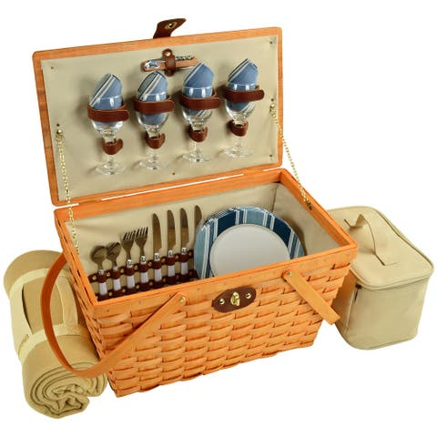 Picnic at Ascot Settler Traditional American Style Picnic Basket with Service for 4 & Blanket- Blue Stripe (717HB-AG)