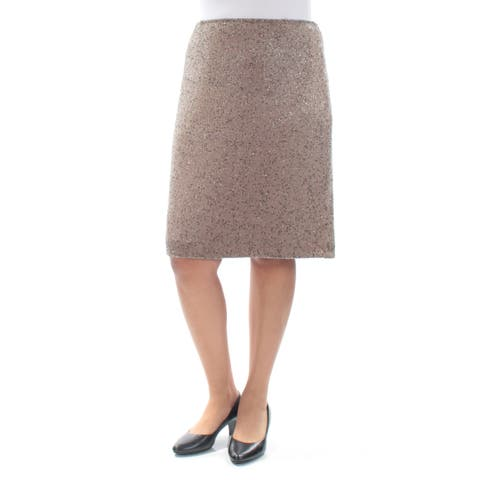 af9c4c881060bc RALPH LAUREN Womens Brown Beaded Knee Length A-Line Party Skirt Size: 12