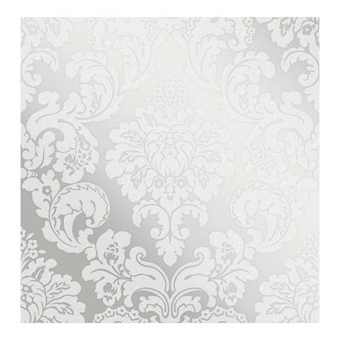Margot Silver Damask Wallpaper - 20.5 x 396 x 0.025