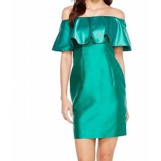 Adrianna Papell Green Womens Size 14 Satin Ruffled Sheath Dress