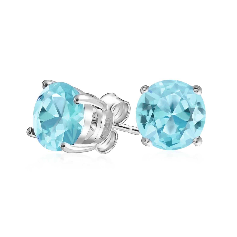 Aquamarine CZ March Birthstone Stud Earrings .925 Sterling Silver Round BASKET