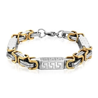 Bling Jewelry 8MM Steel Greek Key Link Mens Byzantine Bracelet 9in Two Tone