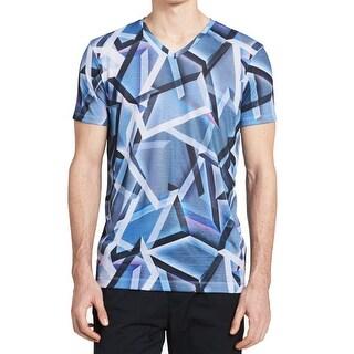 Calvin Klein NEW Navy Blue Mens Size XL Geo-Print Tee V-Neck T-Shirt
