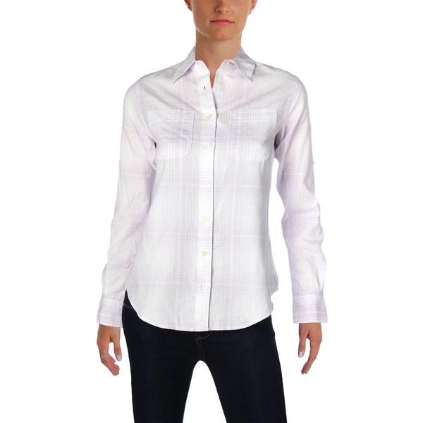 7284622edb8e Shop Lauren Ralph Lauren Womens Lizbeth Button-Down Top Plaid Work Wear -  xs - Free Shipping Today - Overstock.com - 26280700