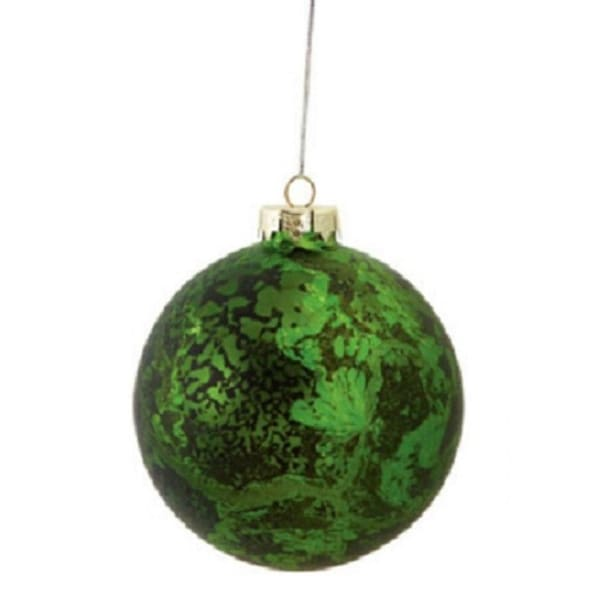 """4"""" Decorative Distressed Antique Green Glass Christmas Ball Ornament"""