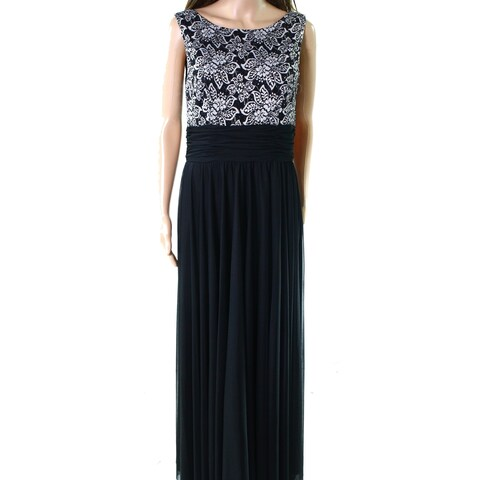 Jessica Howard Black White Womens Size 6 Lace Top Chiffon Gown