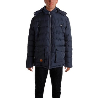 Luciano Natazzi Mens Hooded Solid Puffer Coat - L