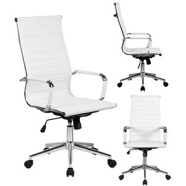 2xhome Executive Ergonomic High Back Eames Office Chair Ribbed PU Leather Swivel for Manager Conference Computer Desk White