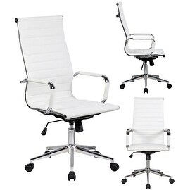 2xhome White Executive Ergonomic High Back Modern Office Chair Ribbed PU Leather Swivel for Manager Conference Computer Desk|https://ak1.ostkcdn.com/images/products/is/images/direct/4689c402ad1b504191b3cabee7f6067270bca9f7/2xhome---White---High-back---Tall-Ribbed-PU-leather-Adjustable-Seat-Office-Chair.jpg?_ostk_perf_=percv&impolicy=medium