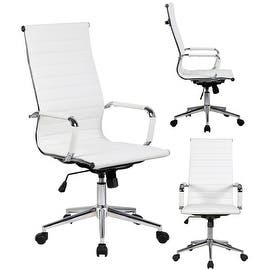 2xhome White Executive Ergonomic High Back Modern Office Chair Ribbed PU Leather Swivel for Manager Conference Computer Desk|https://ak1.ostkcdn.com/images/products/is/images/direct/4689c402ad1b504191b3cabee7f6067270bca9f7/2xhome---White---High-back---Tall-Ribbed-PU-leather-Adjustable-Seat-Office-Chair.jpg?impolicy=medium