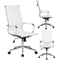 2xhome White Executive Ergonomic High Back Modern Office Chair Ribbed PU Leather Swivel for Manager Conference Computer Desk