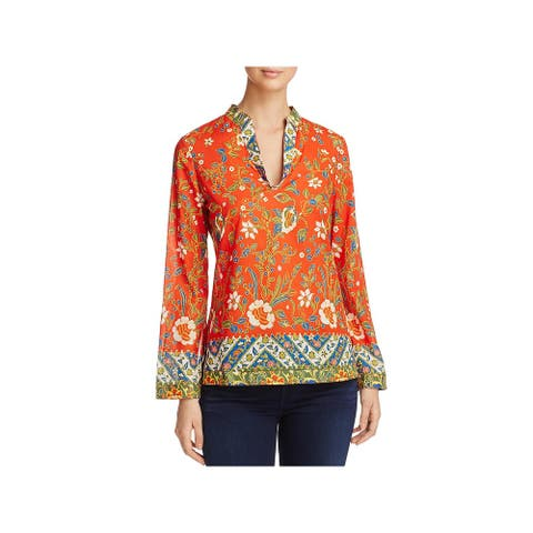Tory Burch Womens Stephanie Tunic Top Sheer Floral Print