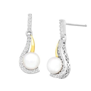 Freshwater Pearl Drop Earrings with Diamonds in Sterling Silver and 14K Gold