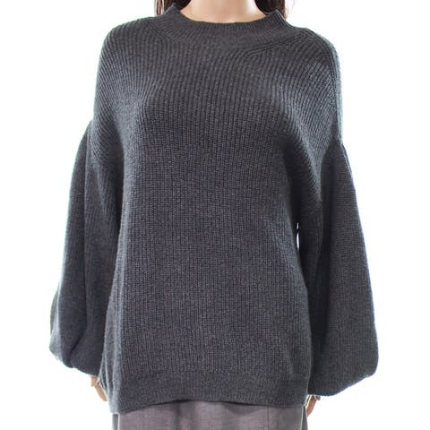 Leith Women's Blouson Sleeve Mock Knitted Sweater