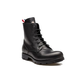 Moncler Vancouver Men's Leather Lace Up Combat Boot Shoes All Weather Black