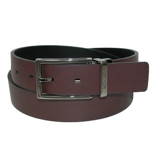 Kenneth Cole Reaction Men's Cut Edge Rerversible Belt with Detail Buckle - Black/Brown