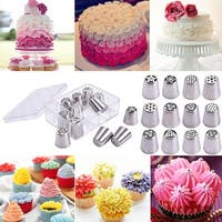 Costway 12PCS Russian Stainless Nozzles Tips Cake Decorating Pastry Baking Tools w/ Box - Sliver