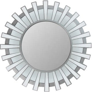 "25.5"" Matte Silver and Clear Sunburst Round Wall Mirror - N/A"