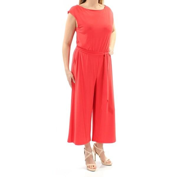 Shop Ralph Lauren 155 Womens New 1429 Red Belted Cap Sleeve Boat