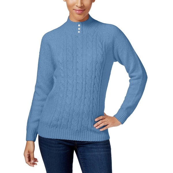 8145f30cee8 Shop Karen Scott Womens Mock Turtleneck Sweater Cable Knit Ribbed Trim -  Free Shipping On Orders Over $45 - Overstock - 20033851