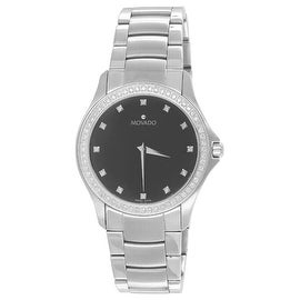 Movado Masino 0606185 Watch Black Dial 1.00 Carat Diamonds Classy Mens Luxury