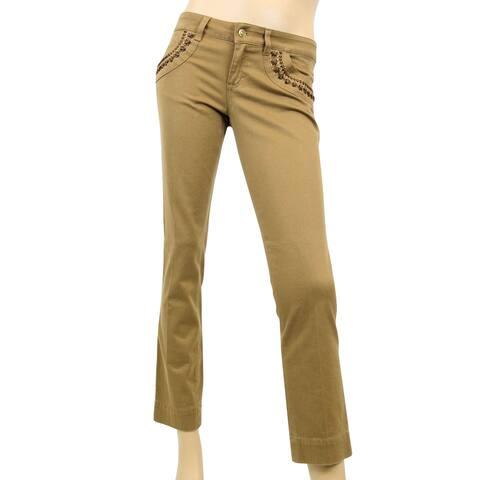 Gucci Women's Leather Laces Brown Cotton Elastane Capri Jeans Pants 264455