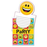 "Club Pack of 48 Yellow and Black ""Show Your Emojis"" Pop Up Invitations 8.2"""