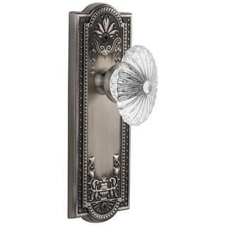 Grandeur PARBUR_DD_NA  Parthenon Solid Brass Rose Dummy Door Knob Set with Burgundy Crystal Knob