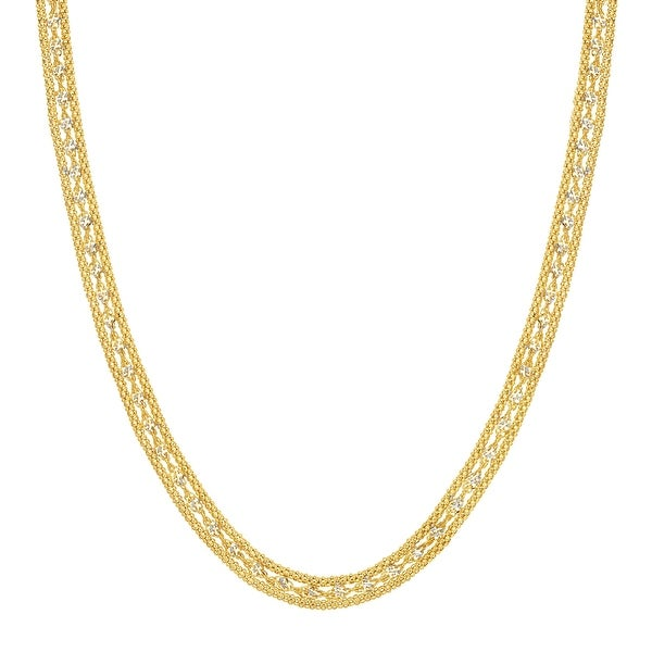 Eternity Gold Twisted Link Band Chain Necklace in 10K Gold