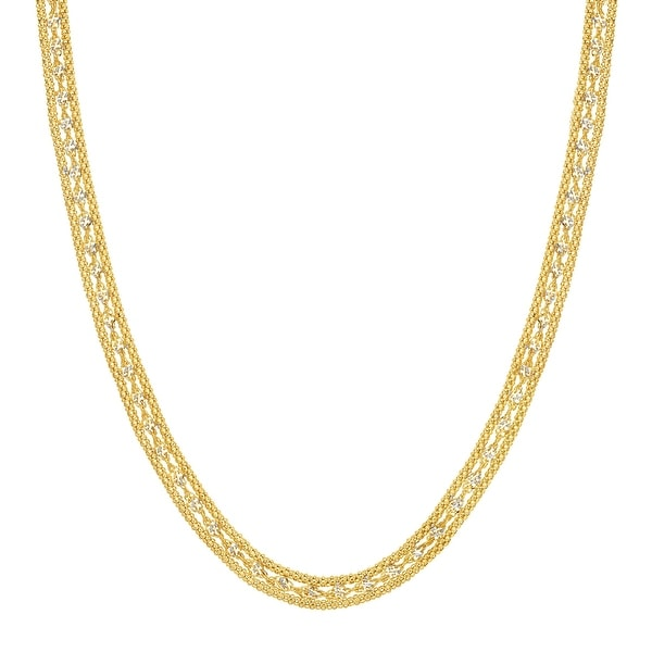 Just Gold Twisted Link Band Chain Necklace in 10K Gold - Yellow