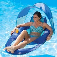 "56"" Blue and Aqua Swimming Pool Spring Float Recliner with Canopy"