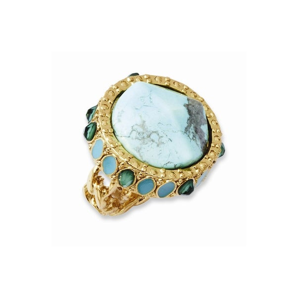 Goldtone Resin & Simulated Composite Stones Ring