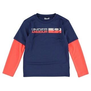 Under Armour Boys Blue Knights Long Sleeve T Shirt Navy Blue - navy blue/bright orange/reflective silver