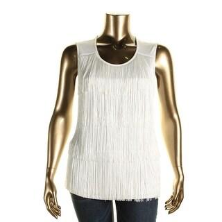 Calvin Klein Womens Plus Fringe Sleeveless Pullover Top