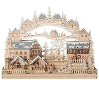 """Set of 2 LED Christmas Village Arch House Table Top Decoration 19"""" - brown"""