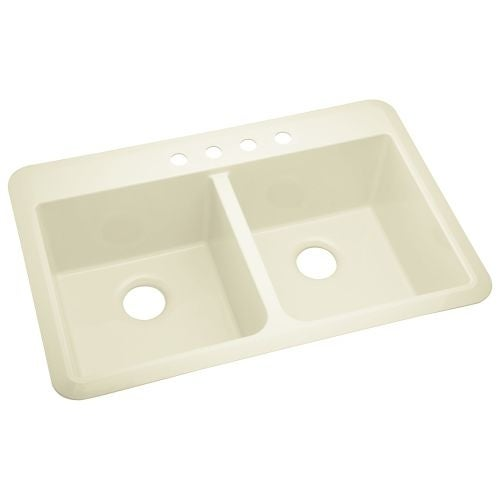 """Sterling 1042-4 Slope 33"""" Double Basin Drop In or Undermount Acrylic Kitchen Sink"""
