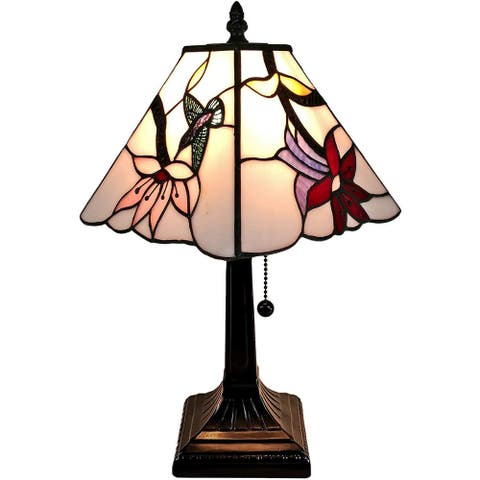 """Tiffany Style Mini Accent Lamp Mission 15"""" Tall Stained Glass Pink Hummingbird Nightstand Office AM211TL08B Amora Lighting"""