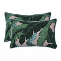 """Set of 2 Blue and Green Tropical Patterned Rectangular Throw Pillows 18.5"""""""