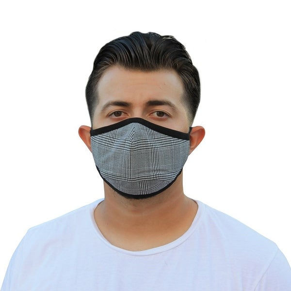Men's Reusable Fashion Cloth Face Mask with Adjustable Straps, Buffalo Plaid. Opens flyout.