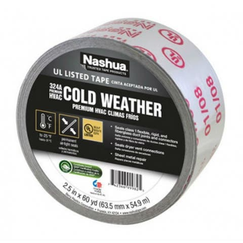"Nashua 1375485 Premium HVAC 324A Cold Weather Foil Tape, Silver, 2.5"" x 60 YD"