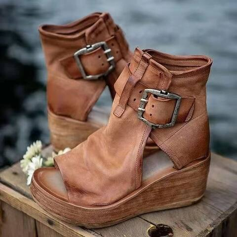 Women's Boho Comfy Buckle Wedge Sandals