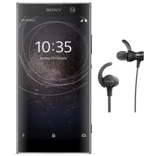 "Sony Xperia XA2 Factory Unlocked Phone (52"" screen, Black) with Headphone Bundle - Black"