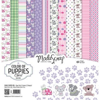 "Color Of Puppies Girl - Elizabeth Craft ModaScrap Paper Pack 12""X12"" 12/Pkg"