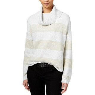 Tommy Hilfiger Womens Turtleneck Top Metallic Knit