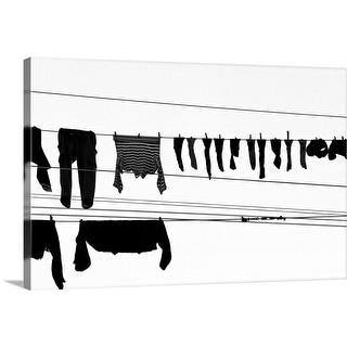 """Laundry drying on a clothesline,  Genoa, Liguria, Italy."" Canvas Wall Art"