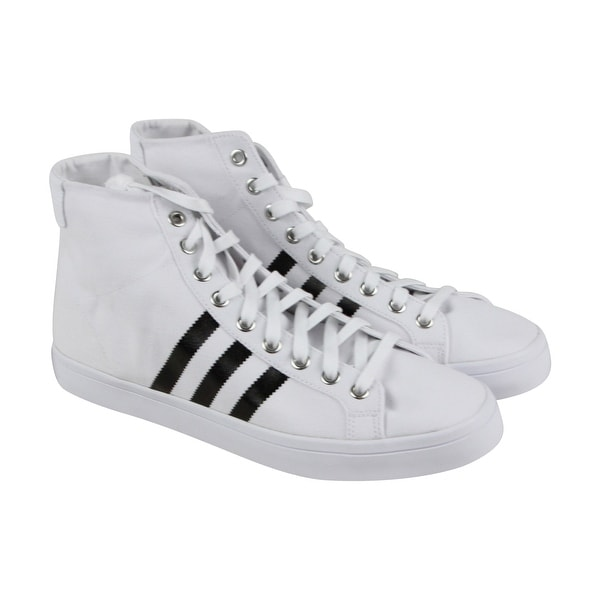 d5ae78163f Adidas Courtvantage Mid Mens White Canvas High Top Lace Up Sneakers Shoes